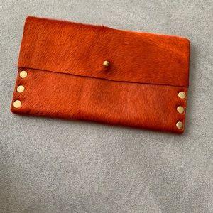 Orange calf hair wallet/clutch